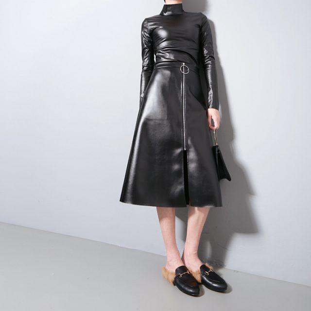New 2016 Japanese Style Women Autumn Black Faux Leather PU Tee Top Long Sleeve Harajuku T shirt Turtleneck Slim Sexy T-shirt 781