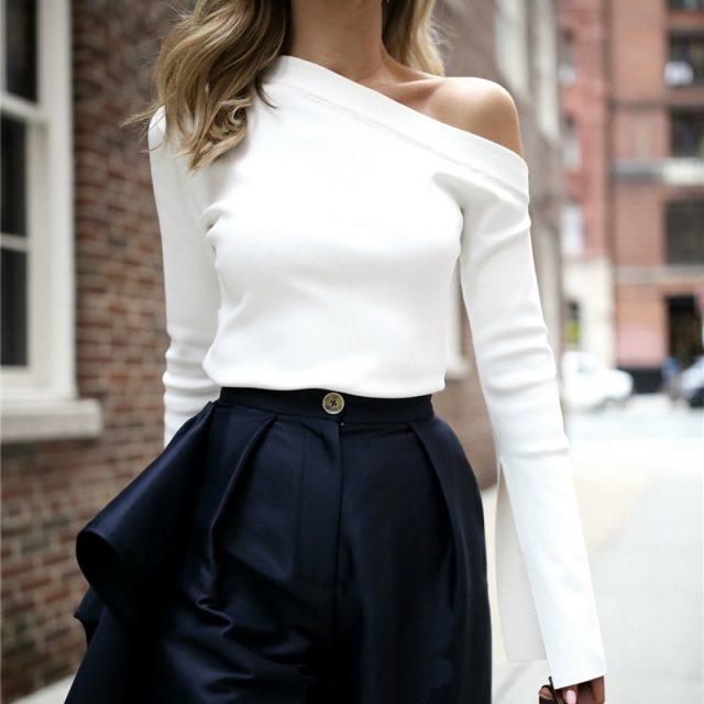 TWOTWINSTYLE White Female T-Shirt Off Shoulder Slash Neck Sexy Top Split Long Sleeve Women's T-shirts Korean Clothes Large Sizes