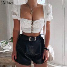 Nibber women sexy white Low-cut Crop Tops summer fashion wild T-shirt black Elastic Slim Soft tops Solid short sleeve t-shirts