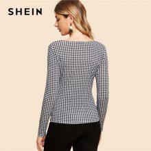 SHEIN Black and White Knot Front Gingham Print Tee Vintage Long Sleeve V Neck Slim Fit Tops Women Elegant Autumn T-shirt