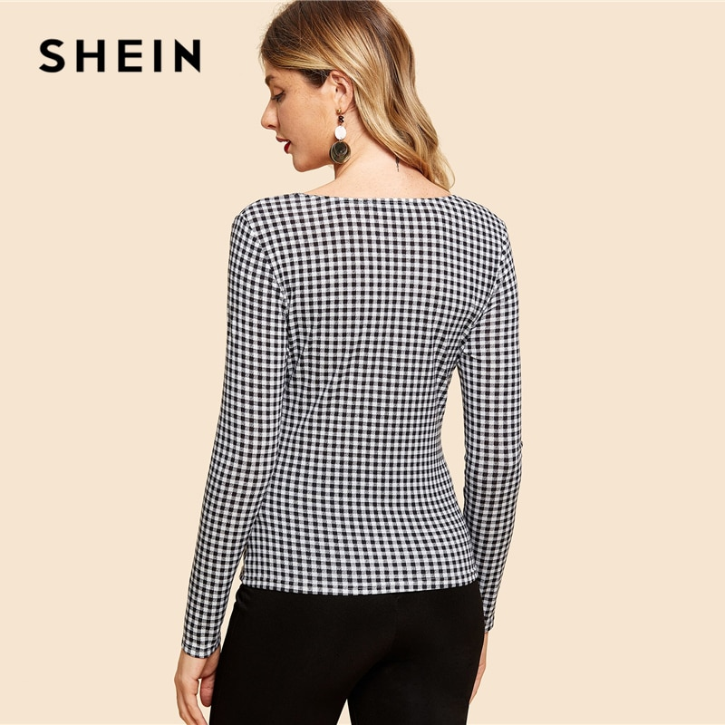 SHEIN Black and White Knot Front Gingham Print Tee Vintage Long Sleeve V Neck Slim Fit Tops Women Elegant Autumn T-shirt