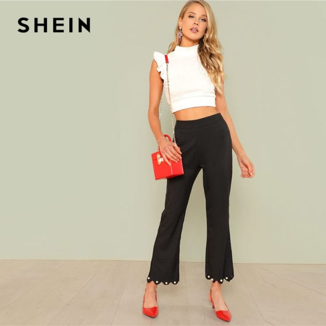 SHEIN Ruffle Armhole Rib Knit Slim Crop Top Women White Stand Collar Plain Vest 2018 Summer Female Sexy Party Top Vest