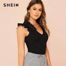 SHEIN Black Elegant Sexy Ruffle Trim Sleeveless Rib Knit V Neck Tee Summer Women Weekend Casual T-shirt Top