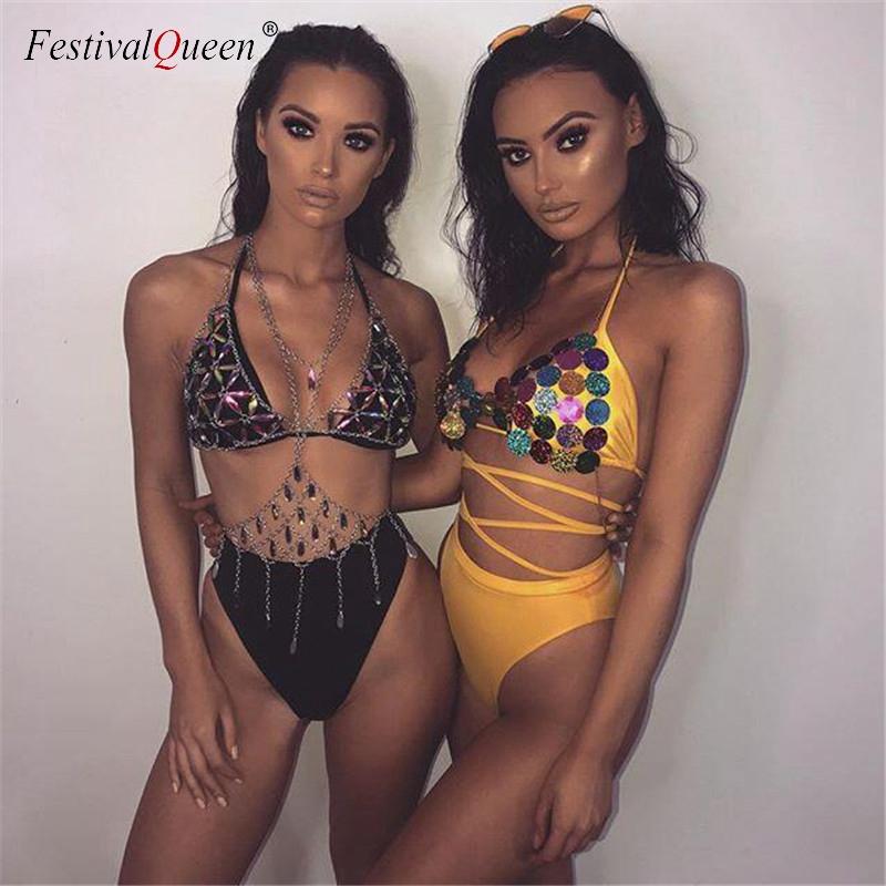FestivalQueen Bling Metal Tassel Details Tank Tops Festival Rave Clothing Summer Sexy Backless Rave Body Chain Beach Tops 2018