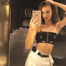 Hugcitar black stretchy PU leather zipper tank top 2018 women crop top fashion party club wear sexy camis