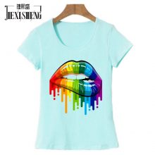 New women Summer Tops Tees Sexy color Lips Painted t shirt cotton Short Sleeve brand fashion round neck tshirt HH240
