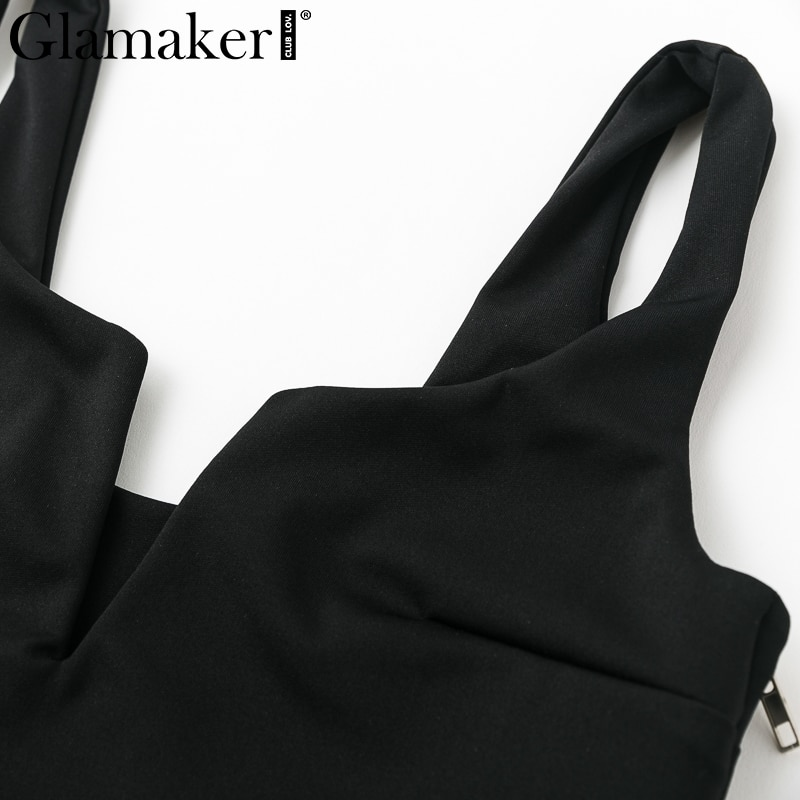 Glamaker Black deep v neck summer sexy crop top Women white strap short tank tops Female red sleeveless party club cropped cami