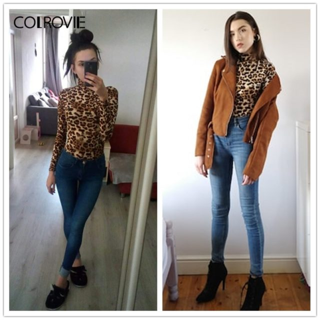 COLROVIE Leopard Print Turtleneck Workwear Ladies T Shirt Women Clothing 2019 Spring Long Sleeve Sexy Female Shirts Tops Tee