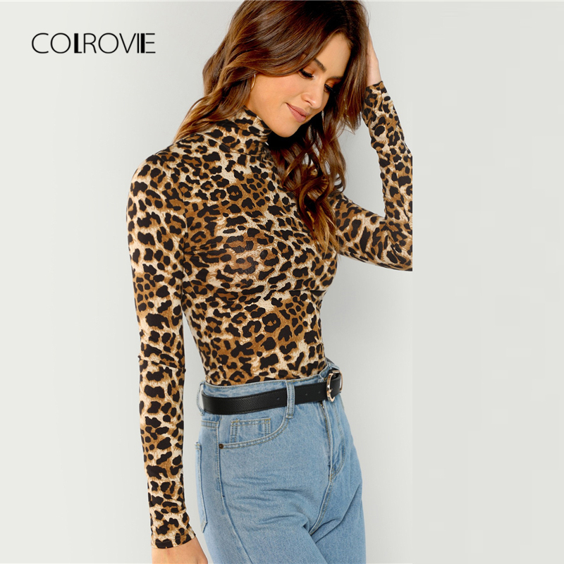 COLROVIE Leopard Print Turtleneck Workwear Ladies T Shirt Women Clothing 2019 Spring Long Sleeve Sexy Female Shirts Tops Tee
