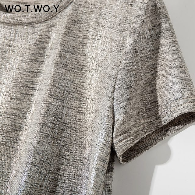 WOTWOY Silver Shiny Lurex Knitted T Shirts Women 2019 Summer Sexy Slim O-Neck Short Sleeve T shirt Woman Solid Tees Harajuku