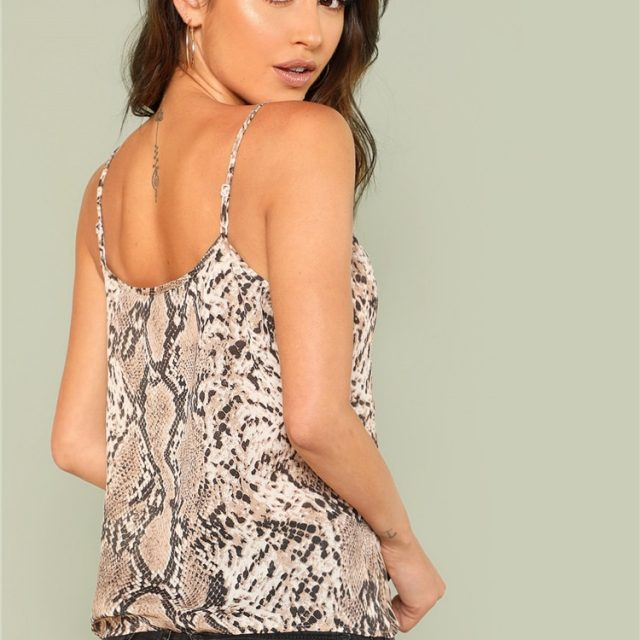 SHEIN Snake Skin Print Cami Top 2018 Summer Spaghetti Strap Casual Cool Vest Women Sexy Fashion Top Vest