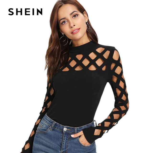 SHEIN Black Streetwear Party Elegant Sexy Workwear Square Cutout Shoulder Fitted Skinny Tee Autumn Women Office Lady T-shirt Top