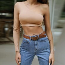 LOSSKY One Shoulder Slope Neckline T Shirt Sexy Solid Long Sleeve Women's Tshirt White Black Crop Top T-shirt 2018 New Fashion