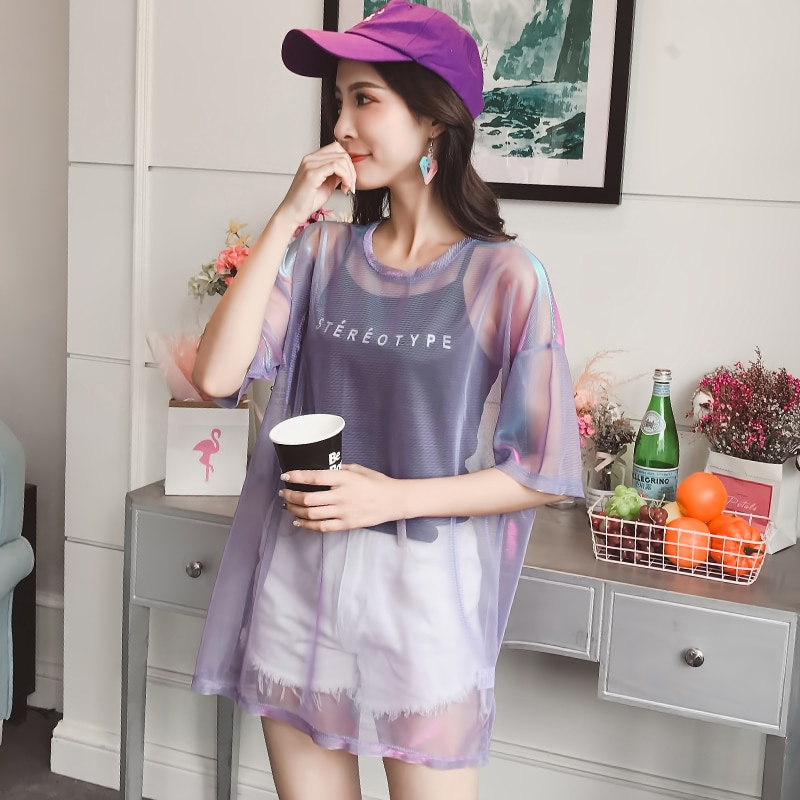 Gkfnmt Fashion Hollow Out T Shirt Women Sexy Transparent Summer Tops Ladies Short Sleeve Loose Two set T-Shirts Women Tee Shirt