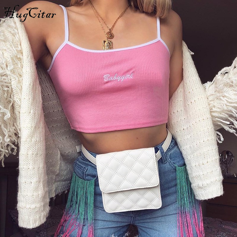 Hugcitar letters Embroidery spaghetti straps patchwork sexy crop tops 2018 summer women fashion camis