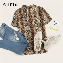 SHEIN Mock Neck Snake Print Casual Tee Women Stand Collar Short Sleeve Slim T-shirt 2018 Summer New Female Sexy Top Tee