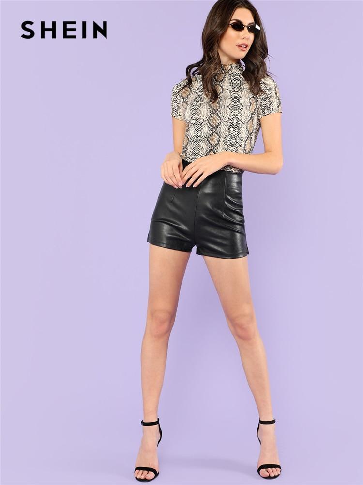 SHEIN Mock Neck Snake Print Casual Tee Women Stand Collar Short Sleeve Slim T-shirt 2018 Summer New Female Sexy Top Tee