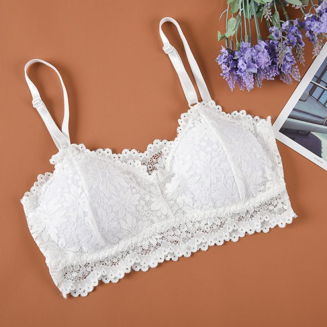 1PC Sexy Women V-Neck Vest Lace Floral Harness Hollow Camisole Bra Blouses Tank Tops Crop Top Bandage spaghetti ladies camisole