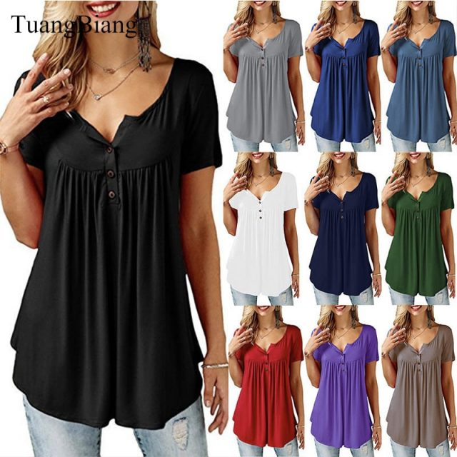 TuangBiang 2018 Women Summer V Neck Short Sleeve T shirt Loose Sexy camiseta feminina T Shirts Female Plus Size Long Style Tops