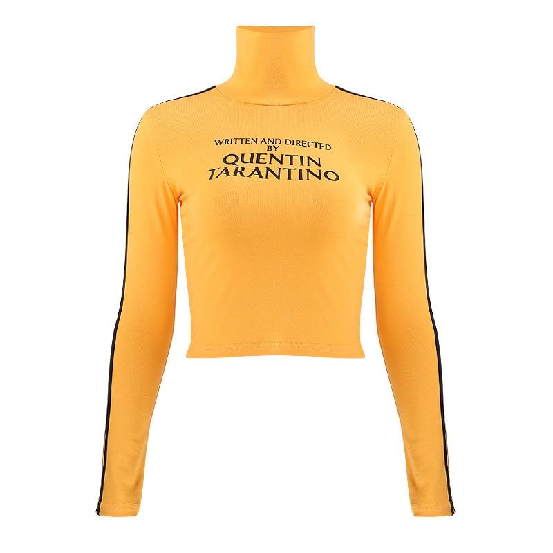 InstaHot 2018 Fashion Quentin Tarantino Sexy Crop Tops Women Side Stripe Long Sleeve Turtleneck Cotton Knitted Short tshirt Lady