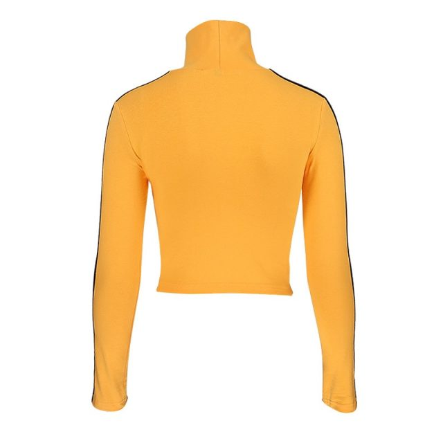 InstaHot 2018 Fashion Quentin Tarantino Sexy Crop Tops Women Side Stripe Long Sleeve Turtleneck Cotton Knitted Short tshirt Lady