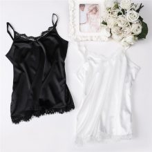 Summer Silk Tank Top 2019 Women Sexy V Neck Basic Tops Blusas Casual Womens Vest Lace Camisole Crop Tops Plus Size Female Shirt