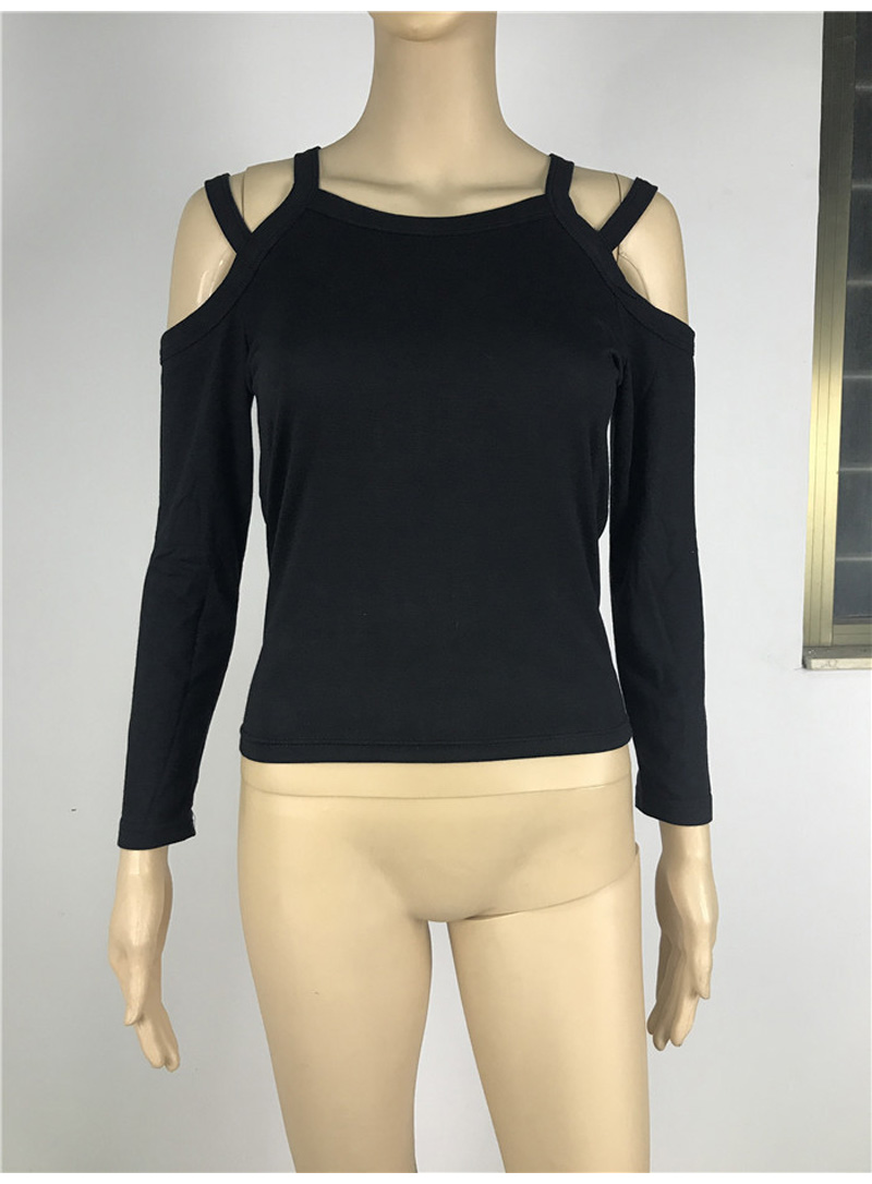 Women Sexy Knitted Cotton Long Sleeve Slim Fit Casual Top T-shirt Off Shoulder Black T Shirt 2019 Fashion O-neck Female Shirts