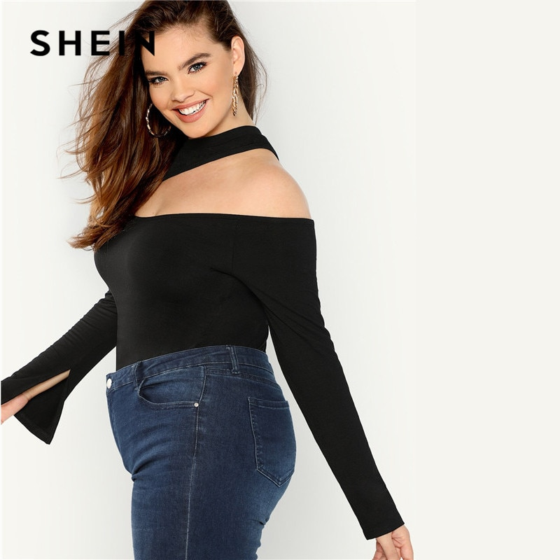 SHEIN Black Sexy Cut Out Asymmetrical Neck Plus Size Women Top Tee 2018 Autumn New Stretchy Long Flounce Sleeve Solid T Shirt