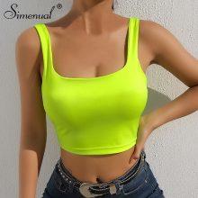 Simenual Square collar strap tank top neon green sexy sleeveless crop tops women streetwear korean vest summer fashion slim tee