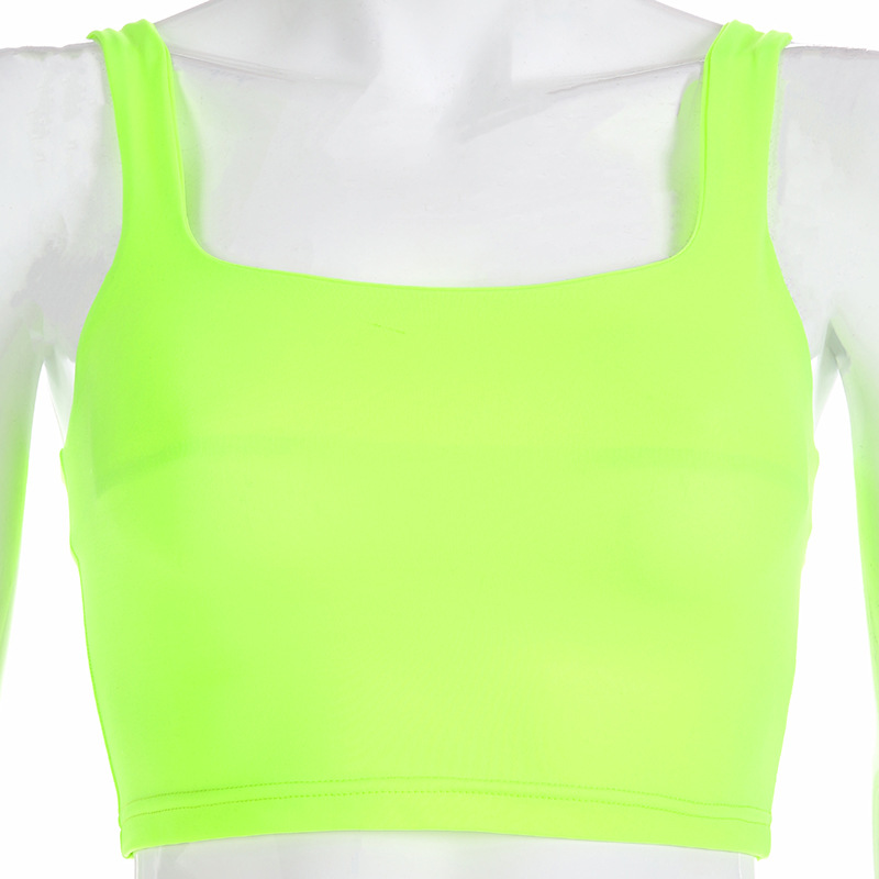 Simenual Square collar strap tank top neon green sexy sleeveless crop tops women streetwear korean vest summer fashion slim tee