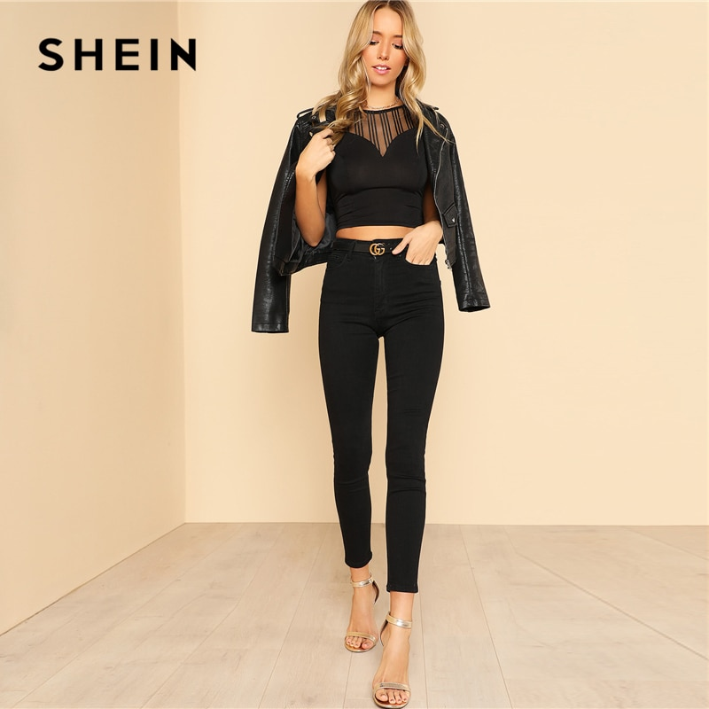 SHEIN Striped Mesh Sweetheart Crop Tee Black Round Neck Short Sleeve Button Women Plain T-shirt 2018 Summer Sexy Party Top Tee