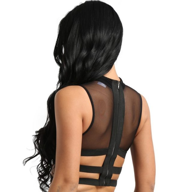 Womens Ladies Sexy Clubwear Tanks Tops Sleeveless Sheer Mesh See-through Zipper Back Elastic Strappy Criss Cross Tees Crop Top