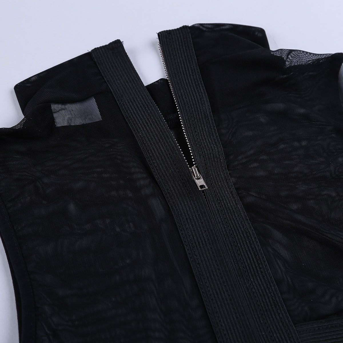 Womens Ladies Sexy Clubwear Tanks Tops Sleeveless Sheer Mesh See-through Zipper Back Elastic Strappy Criss Cross Tees Crop Top