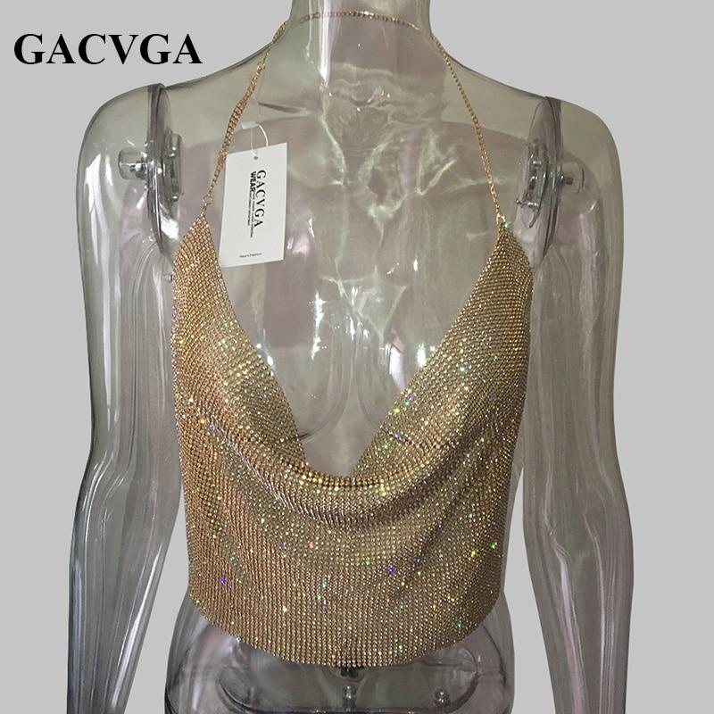 GACVGA 2019 Handmade Crystal Tank Top Sexy Backless Summer Beach Women Crop Top Halter Camis Metal Bralette Ladies Croped Tops