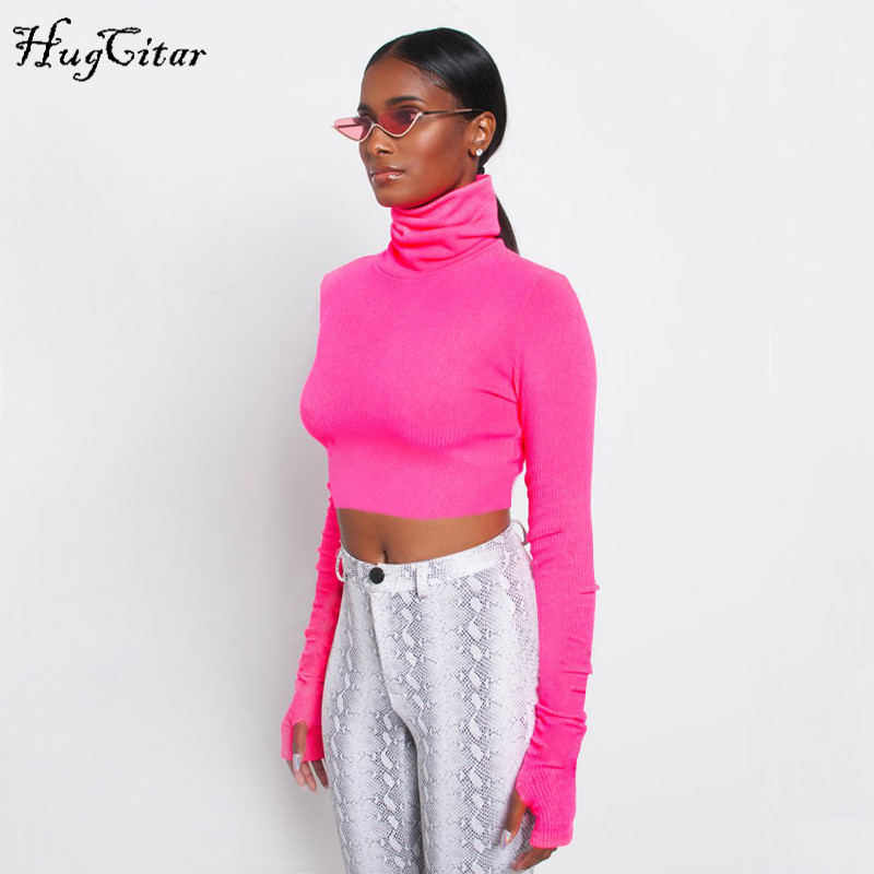 Hugcitar high neck long sleeve solid sexy crop tops 2018 autumn winter women fashion christmas party T-shirts