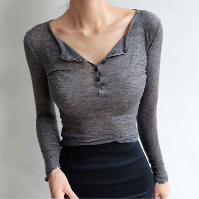 Sexy Tshirt Women T Shirt 2018 Spring Summer T-Shirt Women Tops Korean Long Sleeve Vetement Femme Ropa Mujer Kawaii Clothes