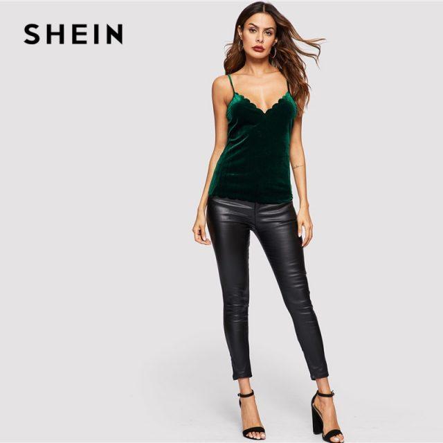 SHEIN Sexy Green Cross Criss Hem Velvet Crop Slim Fit Plain Top Women Autumn Casual  Night Out Stretchy Modern Lady Tank