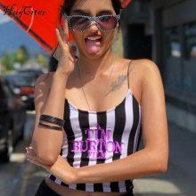 Hugcitar spaghetti straps stripe letters Embroidery slash neck sexy crop tops 2018 summer women fashion casual camis