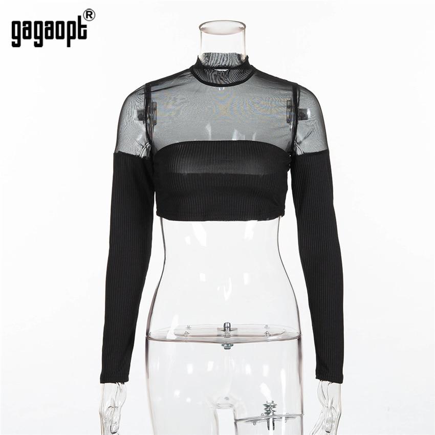 Gagaopt 2018 Autumn Mesh Top Women Skinny Perspective Fashion Ladies Long Sleeve Crop Top Women Sexy Tops Club Streetwear Blusas