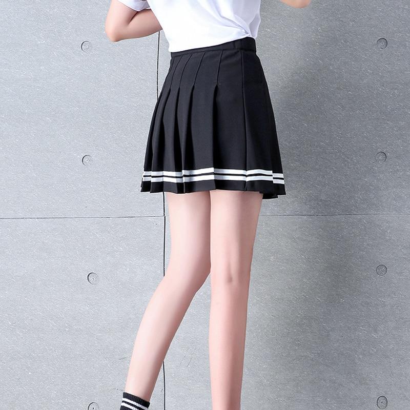 2019 Preppy Style High Waist Chic Striped Stitching Skirt Student Elastic Waist Pleated Skirt Women Cute Sweet Girls Dance Skirt