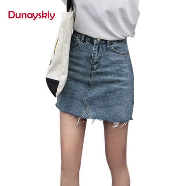 Duanyskiy Women Summer Black Blue Solid Casual High Waist Pencil Denim Skirts High Street Pockets Button All-matched Jeans Skirt