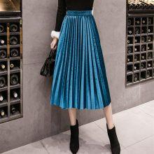 2018 Autumn Winter Velvet Skirt High Waisted Skinny Large Swing Long Pleated Skirts Metallic 18 Colors Plus Size 3XL Midi Saia