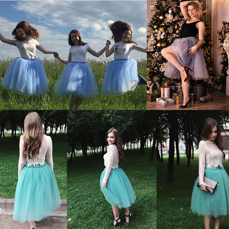 5 Layers 60cm Princess Midi Tulle Skirt Pleated Dance Tutu Skirts Womens Lolita Petticoat Jupe Saia faldas Denim Party Skirts