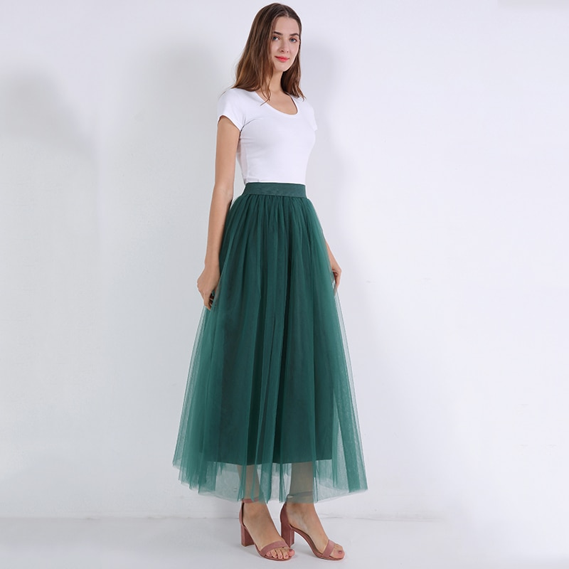 2018 Spring Fashion Womens Lace Princess Fairy Style 4 layers Voile Tulle Skirt Bouffant Puffy Fashion Skirt Long Tutu Skirts