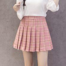 Korean style women zipper high waist skirt school girl faldas pleated plaid skirt sexy red mini skirt jupe femme