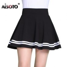 ALSOTO Fashion Summer Style Women Skirt Solid Color Sexy High Waist Pleated Skirt black Korean Version Mini A-line Saia