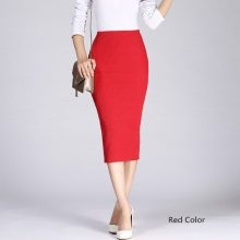 Danjeaner Stretch Slim Knitted Skirts Womens High Elastic Package Hip Mid-Calf Solid Pencil Skirt Lady Rib Cotton Maxi Skirts