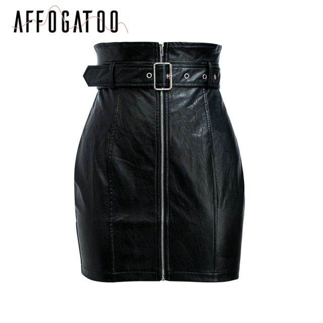 Affogatoo High waist pu leather skirts women Sash zipper pencil mini skirt 2018 Autumn streetwear winter black skirts short