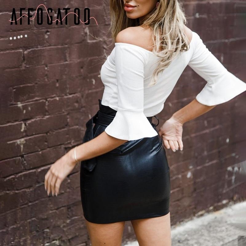 Affogatoo High waist pu leather skirts women Sash zipper pencil mini skirt 2018 Autumn streetwear winter black skirts short
