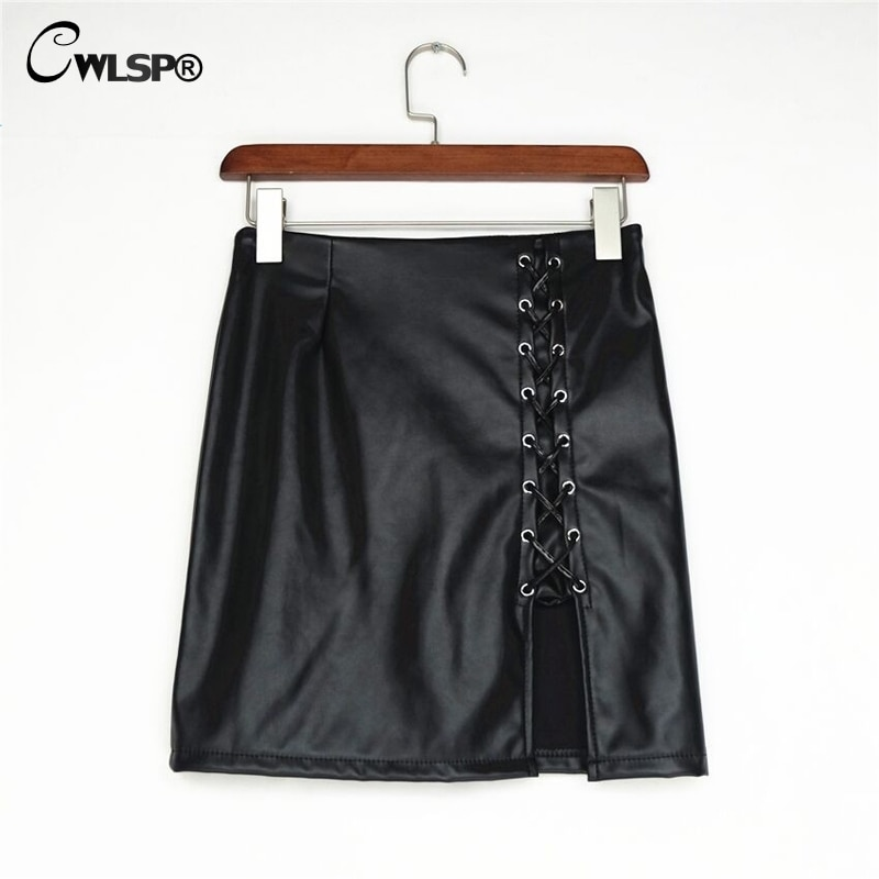 CWLSP Black Lace Up PU Leather Skirts 2018 Spring Summer Womens Side Split Pencil Skirts Vintage  Bodycon Mini Skirt QZ1820